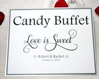 8 X 10 Wedding Candy Buffet Sign / Candy Buffet Wedding Sign / Love is Sweet
