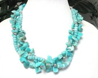 Amazonite Necklace - Amazonite Statement Necklace - Amazonite Chip Necklace - Amazonite Woven Necklace - Amazonite and Silver Necklace
