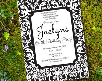 Black & White Damask Birthday Invitation - 30th 40th 50th 60th birthday invitation - Instant Download and Edit File with Adobe Reader