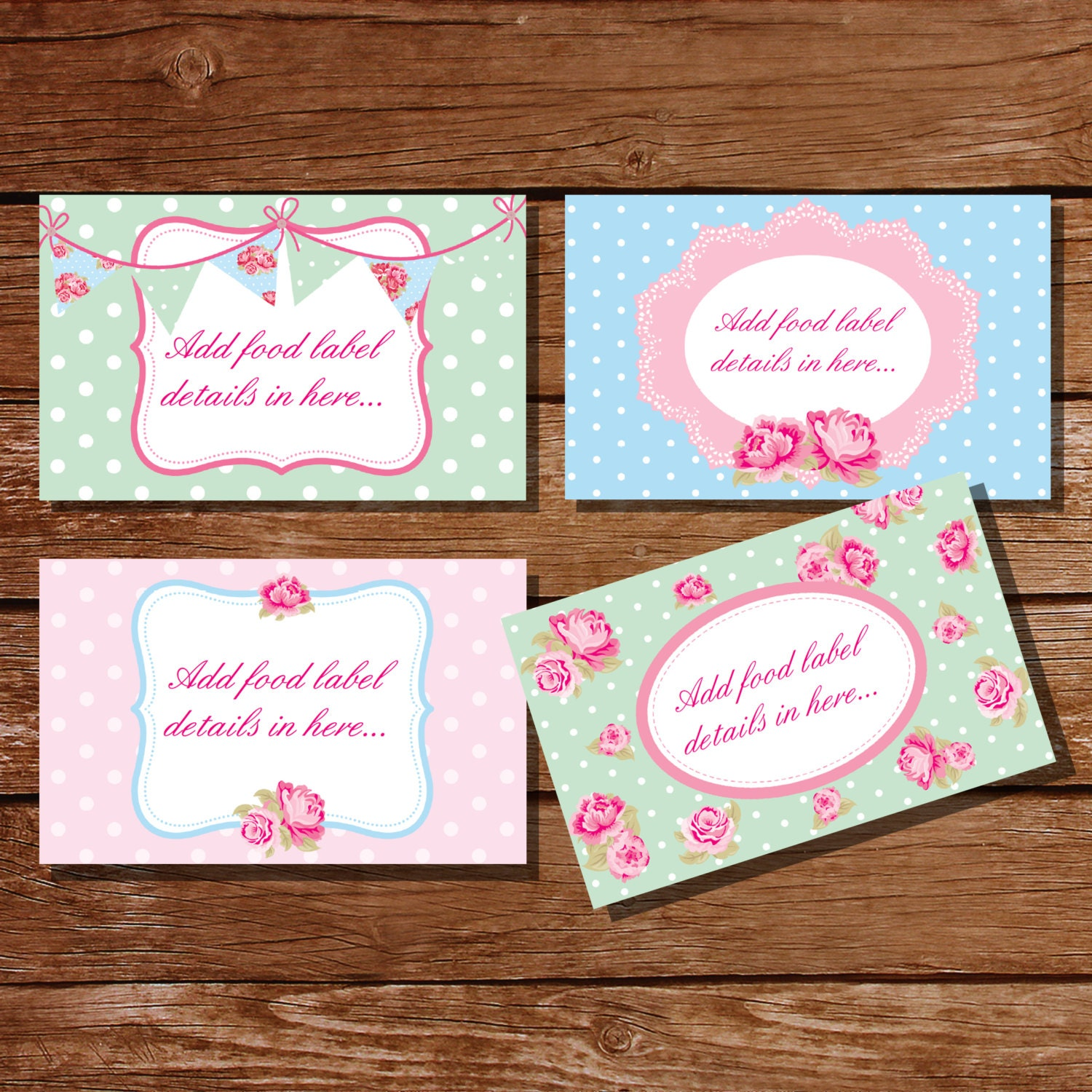 princess food labels shabby chic candy buffet cards food