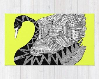 Aztec Swan Rug, Aztec Rug, Swan Bath Mat, Aztec Bath Mat, Swan Throw Rug, Aztec Throw Rug, Aztec Floor Mat, Swan Carpet, Kids Rug