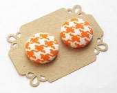 Fabric Button Earrings Orange Houndstooth Button Earring Stud Earrings - Hypoallergenic Earrings