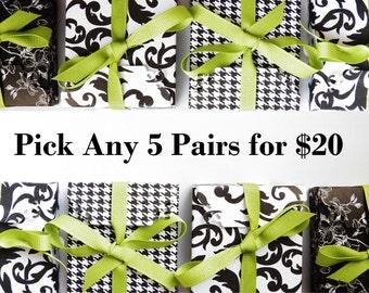 5 Button Earrings for 20 - Stud Earri- Bridesmaids Earrings - Hypoallergenic