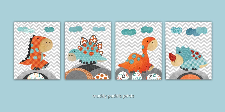 Orange and gray nursery decor : Blue orange grey nursery decor art kids room wall