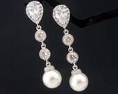 Wedding Jewelry Bridesmaid Gift Bridal Earrings Bridesmaid Jewelry White OR Cream Swarovski Round Pearl Drop Earrings Cubic Zirconia