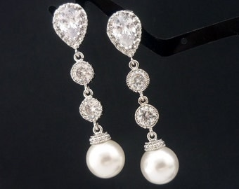 Wedding Jewelry Bridesmaid Gift Bridal Earrings Bridesmaid Jewelry White OR Cream Swarovski Round Pearl Drop Earrings Cubic Zirconia
