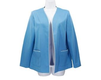 10 DOLLAR SALE---Vintage 70's Light Blue & White Polyester Jacket Size 12