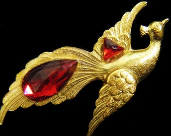 Vintage 70's Gold Tone w/ Red Rhinestones Peacock Brooch Pin