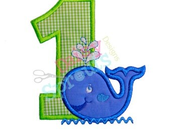 1st Birthday Whale Applique Design INSTANT DOWNLOAD