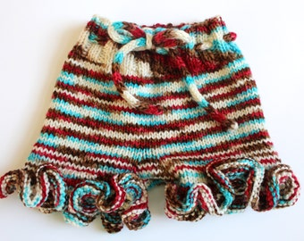 Ready to Ship** 6-12m Ruffle Shorties -- Woolies, Cloth Diaper Cover, July 4th Outfit!