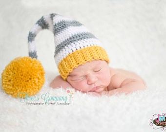 Striped Elf Hat - Gray White & Mustard - Newborn through 12 months - Crochet