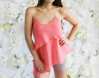 S/M Asymmetrical Layered Coral Gauze w/ Gold Lurex Top w/ Gold Trim Straps / Women's Top / Fashion Top / Sale 70% Off