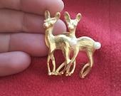 Deer Brooch with Pearls / Vintage Gold Deer Lapel Pin / Mid Century Jewelry / Christmas brooch makes a nice gift