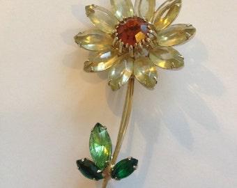 Signed Vintage Weiss Flower Brooch Yellow, Orange, Green