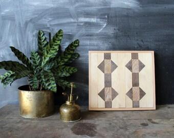 Navajo Tribal Geometric Wood Patterned Wall Panel Art, Reclaimed Barnwood, Pine, Chesnut, Oak,  Arrow Chevron - - Tarf Pattern