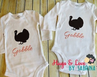 Gobble Gobble Thanksgiving Turkey - Twins Baby Bodysuits