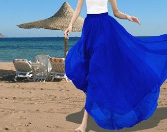 Royal Blue Skirt  Chiffon Skirt Blue Maxi Skirt Long Skirt Maxi Dress Grey  Chiffon Dress Summer Dress Beach Skirt  Bohemian Skirt