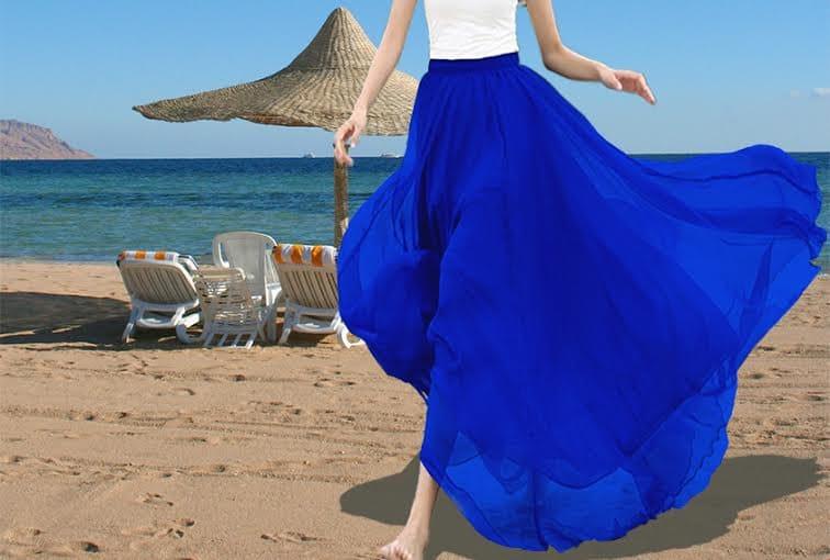 royal blue skirt chiffon skirt blue maxi skirt by