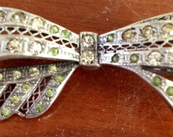 SALE-Vintage Sterling Marcasite Rhinestone Bow Pin