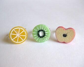 Fruit Slice Rings - Apple Orange Kiwi Kawaii ring kawaii fruit ring apple ring kiwi ring pop kei ring fruit slice ring adjustable ring food
