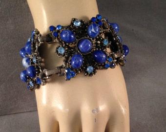 Huge  1950s Statement Bracelet, Vibrant Cobalt, Blue, Pewter, Silver, Glass Cabochons, Rhinestones