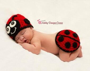 Crochet Pattern Ladybug Baby Tushy Cover Set - PDF - Instant Digital Download