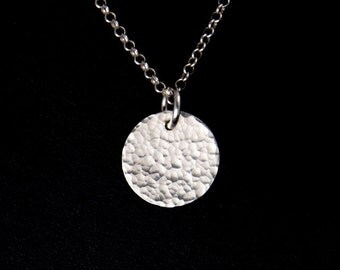 Sterling Silver Charm Pendant - Silver Charm Necklace - Silver Hammered Disc Charm - Sterling Silver Disc Charm - Silver Pendant