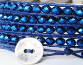 Wrap bracelet with iris midnight blue rondelle faceted crystal beads