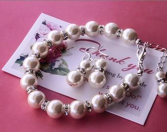 50% OFF SALE Pearl set - Bracelet and Earrings with rhinestonesBridesmaids gift, Bridesmaid jewelry, bridal bracelet