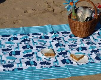 Picnic blanket Waterproof picnic blanket , beach cotton blanket , summer picnic blanket , kids outside blanket , zoo blanket ,great GIFT
