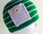 Crochet Pocket Hat with Vintage Button Green and White Stripe Cap One Size Fits Most Ready To Ship