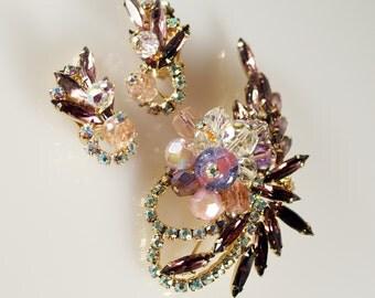Juliana AB Rhinestone Brooch Earrings, Vintage Juliana Aurora Borealis Navette Rhinestone Art Glass Pin Earrings Set