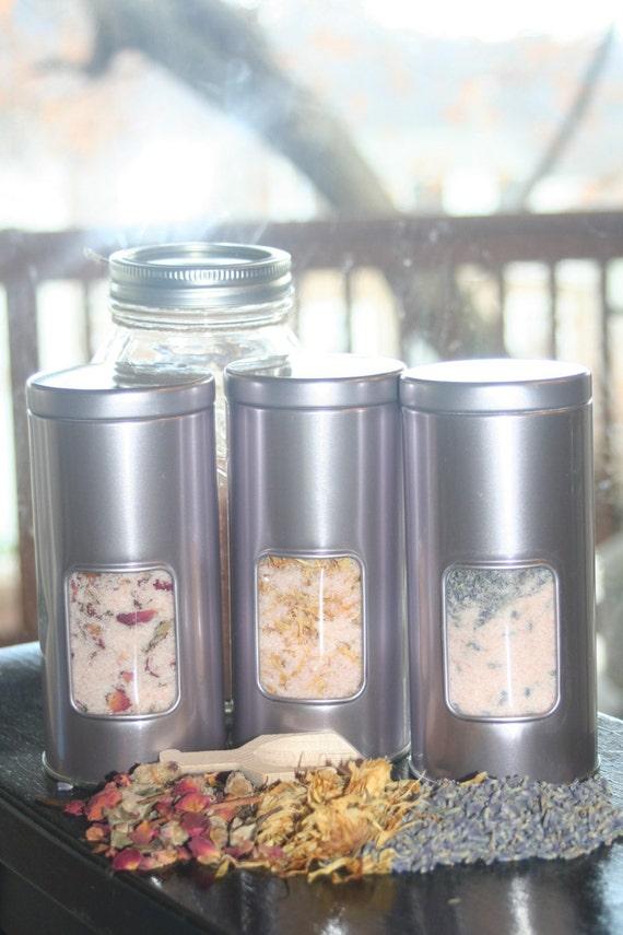 14oz Himalayan Soaking Salt Tin-organic rose buds-Geranium essential oil