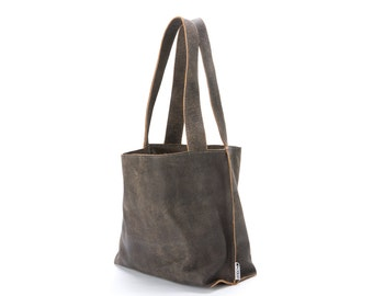 Gray leather tote bag - Soft leather bag - Women bag - Zipper bag -  Distressed Gray Leather Woman Bag  - SHIRI Bag - Ready To Ship