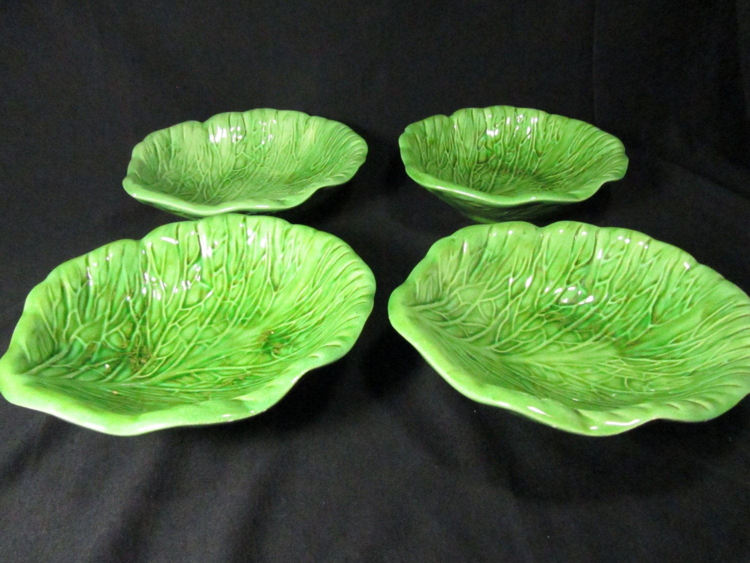 Set Of 4 Vintage Holland Mold Cabbage Leaf Bowls Green Bowls