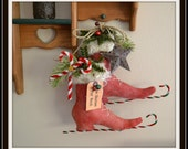 Primitive Ice Skates, Decorative red primitive grungy ice skates with snowman, handmade USA