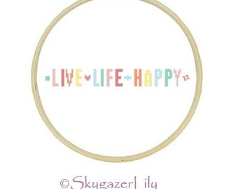 Easy Cross Stitch Pattern - Live Life Happy - Beginner Printable PDF Instant Download