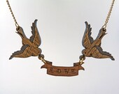 Wooden Double bird necklace with Personalised name banner. Handmade laser cut jewellery