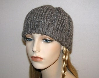 Womens Crochet Hat Gray Wool Mohair Blend with Knit Ribbing - Crocheted Winter Gray Hat for Her - Gray Handmade Cap in Mohair Blend