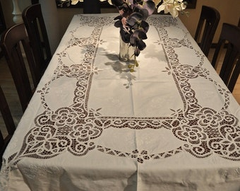 Extra Long Battenburg Lace Handmade Table cloths 106 By 70 inchs