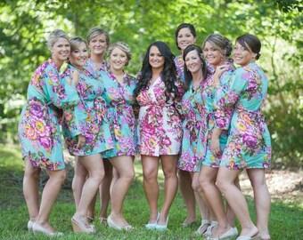 Boho Chic, Bridal Robe Set, Floral Kimono Robe, Robes for Women, Unique Bridesmaid, Printed Robe for Wedding, Wedding Lingerie, Beach Kimono