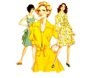 70's Sundress Dress Pattern Shoulder Straps Open Front Short Jacket Vintage Kwik Sew 571 Sewing Pattern Size 14 16 18 Jacket Size 14