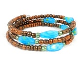 Brown and Turquoise, Beaded Bracelet, Hemlock Accents, Turquoise Blue, Bronze Seed Beads, Graduation Gift, Going Away Present