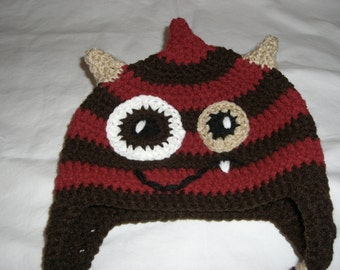 Red and Brown Monster beanie