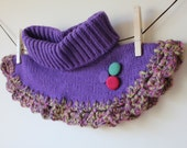 Women Crochet and Tricot Handmade Purple Neck-warmer with Purple, Pink and Green Buttons