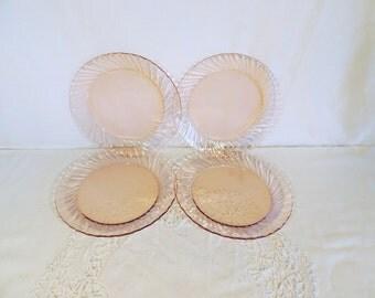 Arcoroc, rosaline, pink glass dinner plates, set of 4