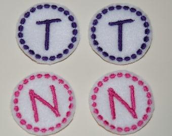 Set of 4 Circle Monogram Feltie Felt Embellishments