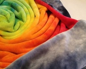 Rainbow Baby blanket, blankie and swaddler : hand dyed organic bamboo velour - Rainbow and grey skies