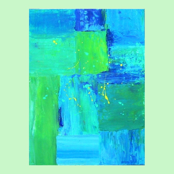 Blue Green Abstract Painting Blue Wall Decor 18x24 Original Acrylic Painting by Nacene Prchal