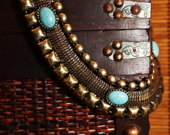 Egpytian Dynasty Necklace Gold Turquoise Tribal Statement Jewelry